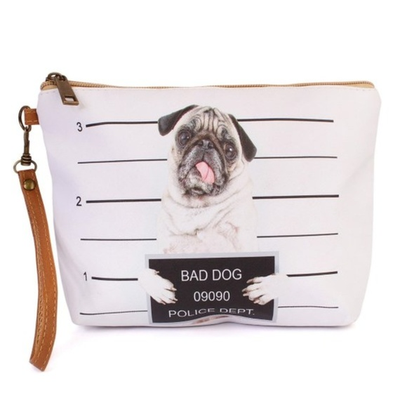 Inspired Closet Handbags - 3 FOR $25 • Bad Dog Zippered Makeup Pouch Feat Pug